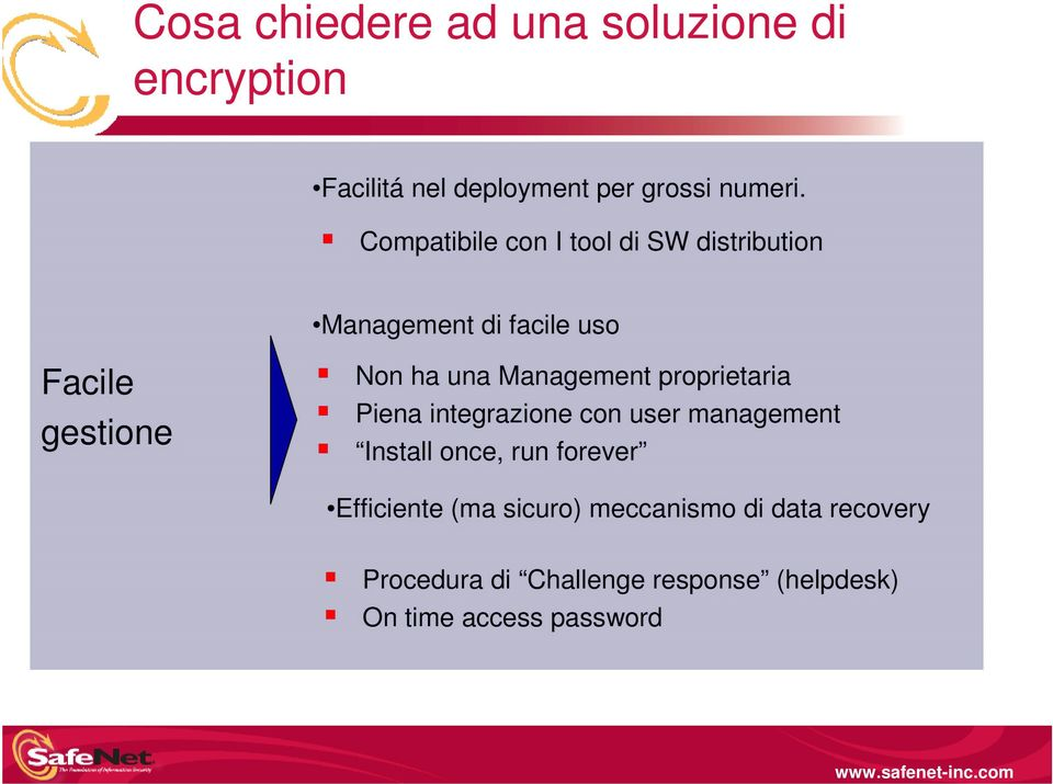 Management proprietaria Piena integrazione con user management Install once, run forever