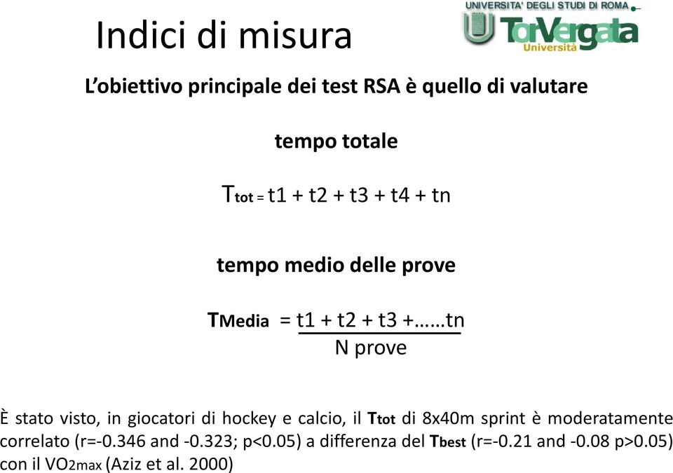 giocatori di hockey e calcio, il Ttot di 8x40m sprint è moderatamente correlato (r=-0.346 and -0.