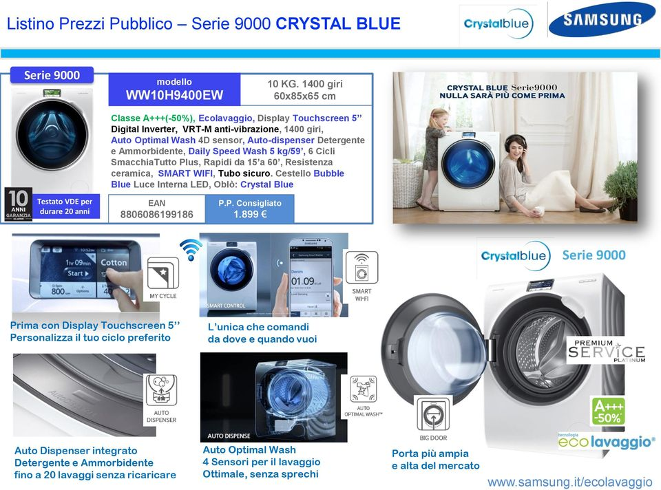 Daily Speed Wash 5 kg/59, 6 Cicli SmacchiaTutto Plus, Rapidi da 15 a 60, Resistenza ceramica, SMART WIFI, Tubo sicuro.