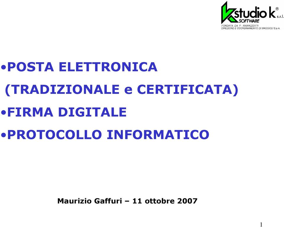 FIRMA DIGITALE PROTOCOLLO
