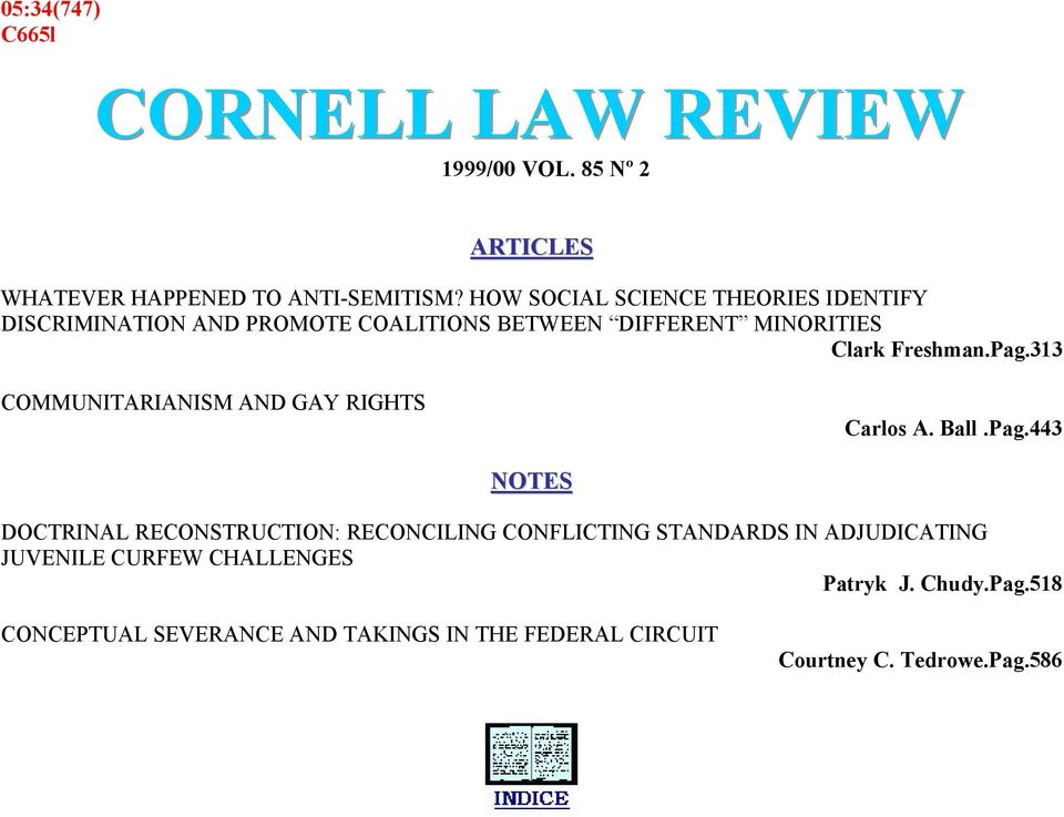 313 COMMUNITARIANISM AND GAY RIGHTS Carlos A. Ball.Pag.
