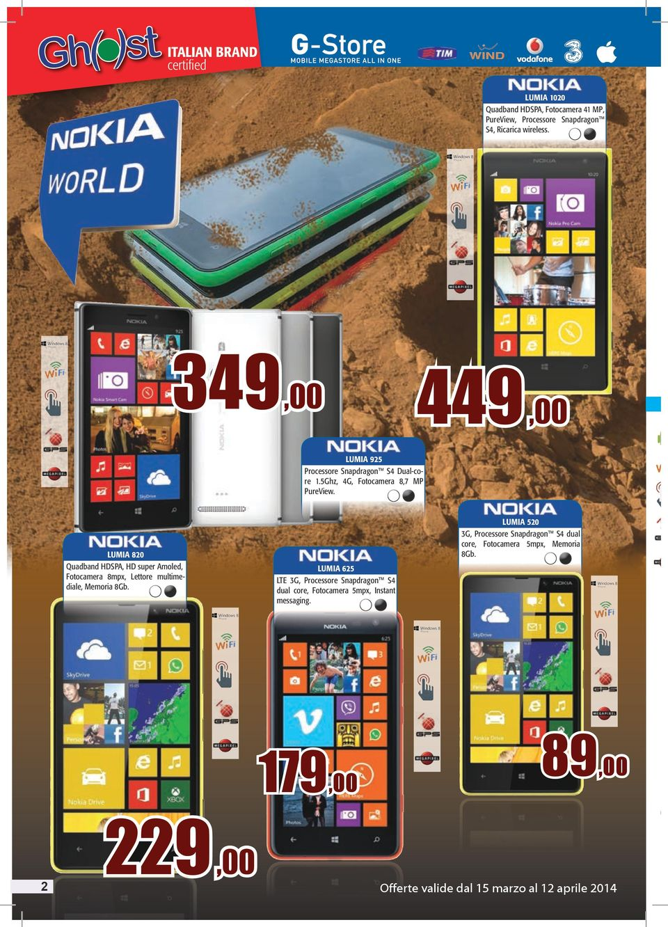 LUMIA 820 Quadband HDSPA, HD super Amoled, Fotocamera 8mpx, Lettore multimediale, Memoria 8Gb.