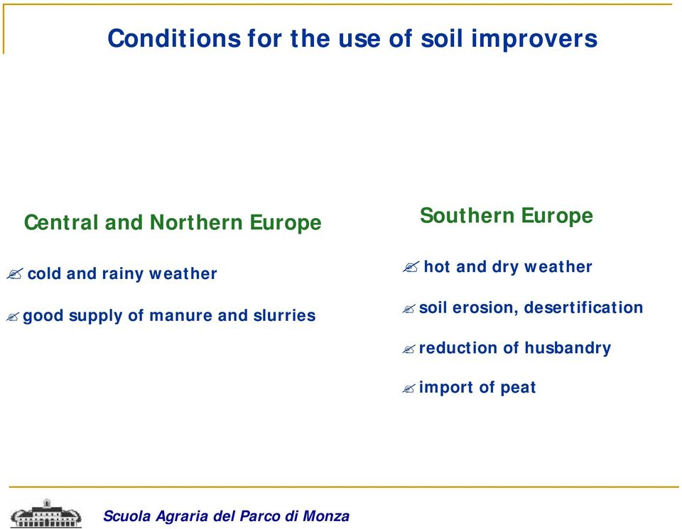 manure and slurries Southern Europe hot and dry weather