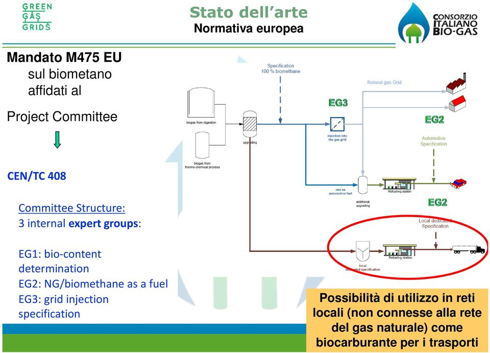 determination EG2: NG/biomethane as a fuel EG3: grid injection specification Possibilità