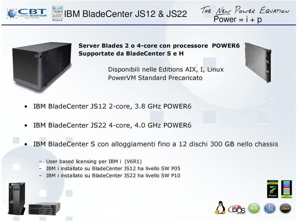 8 GHz POWER6 IBM BladeCenter JS22 4-core, 4.