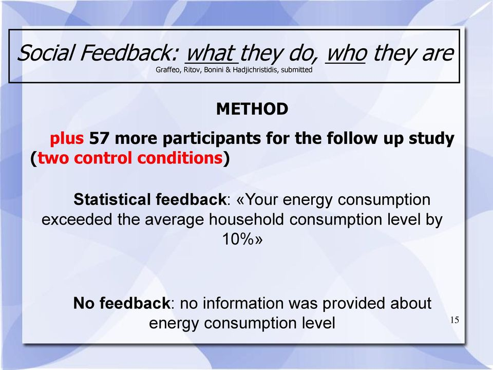 conditions) Statistical feedback: «Your energy consumption exceeded the average