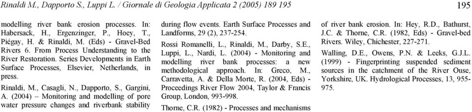 , Dapporto, S., Gargini, A. (2004) Monitoring and modelling of pore water pressure changes and riverbank stability during flow events. Earth Surface Processes and Landforms, 29 (2), 237-254.