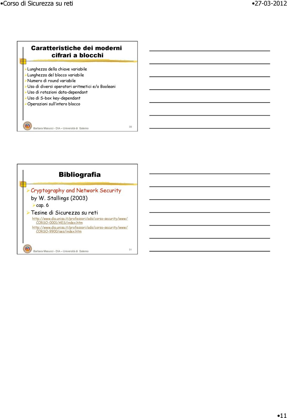 blocco 30 Cryptography and Network Security by W. Stallings (2003) cap. 6 Tesine di Sicurezza su reti http://www.dia.unisa.