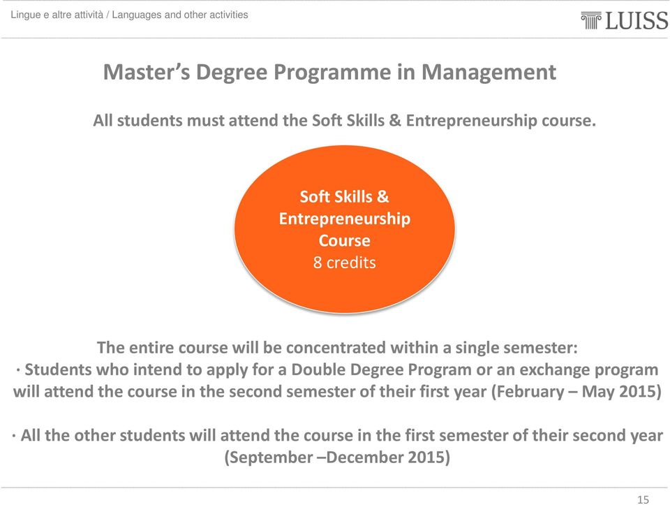 intend to apply for a Double Degree Program or an exchange program will attend the course in the second semester of their