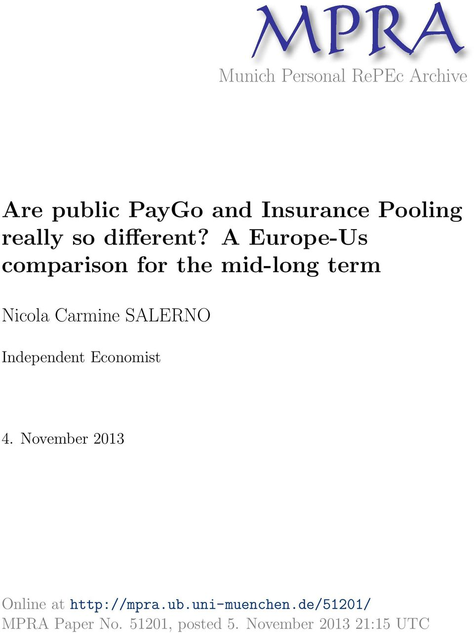 A Europe-Us comparison for the mid-long term Nicola Carmine SALERNO