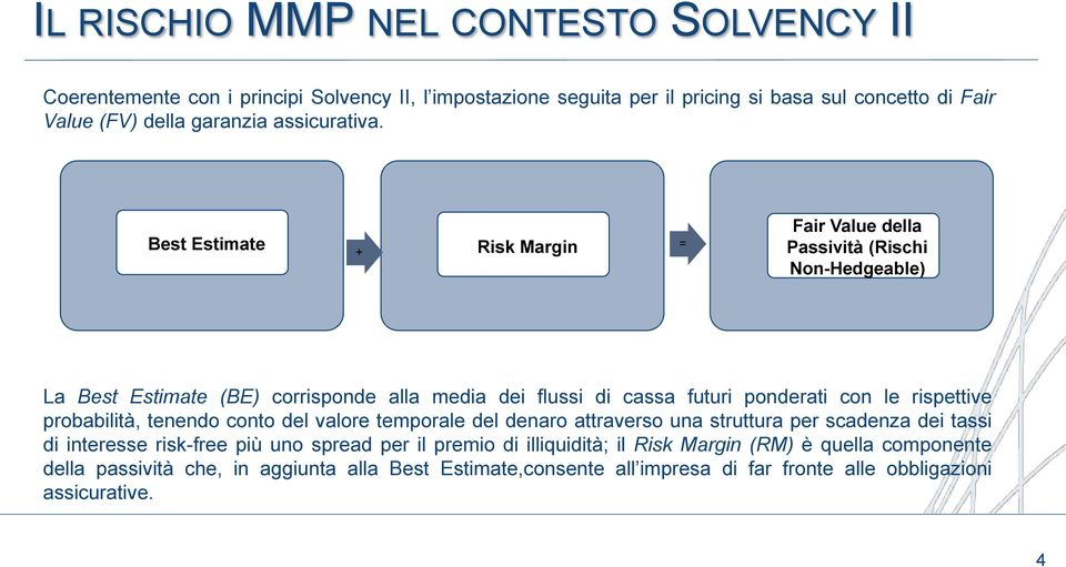 Best Estimate + Risk Margin = Fair Value della Passività (Rischi Non-Hedgeable) La Best Estimate (BE) corrisponde alla media dei flussi di cassa futuri ponderati con le