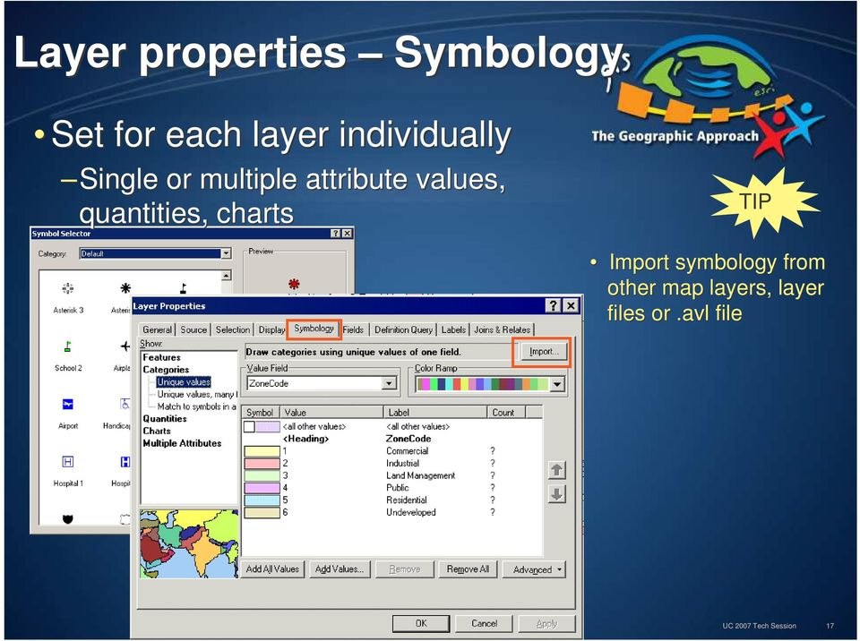 quantities, charts TIP Import symbology from other