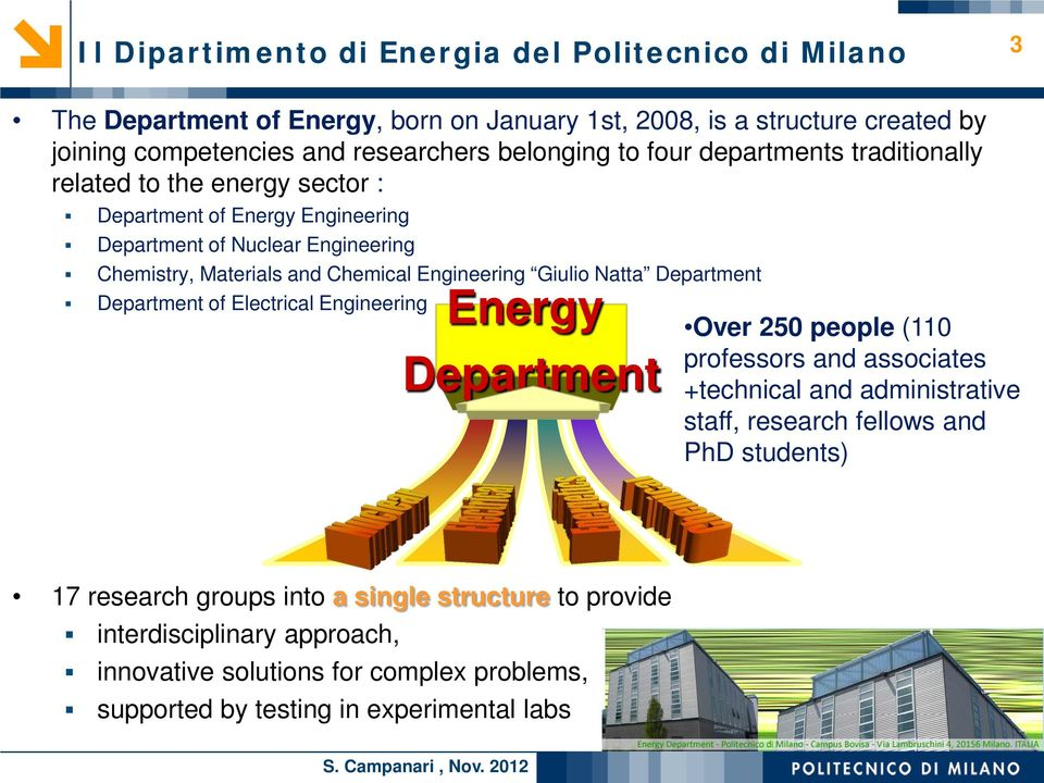 Giulio Natta Department Department of Electrical Engineering Energy Department Over 250 people (110 professors and associates +technical and administrative staff, research fellows