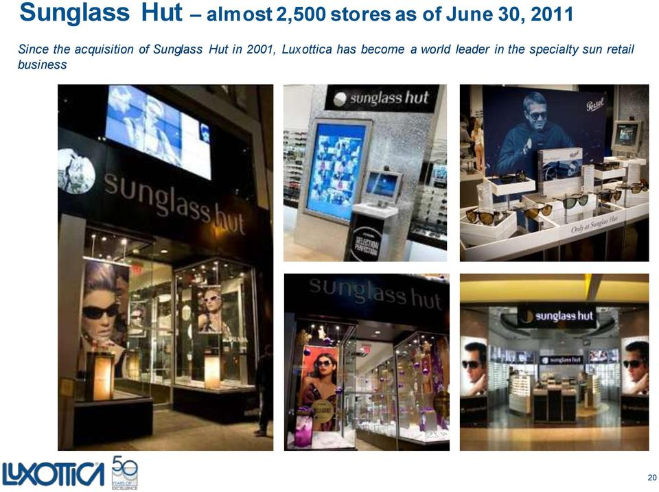 Hut in 2001, Luxottica has become a world
