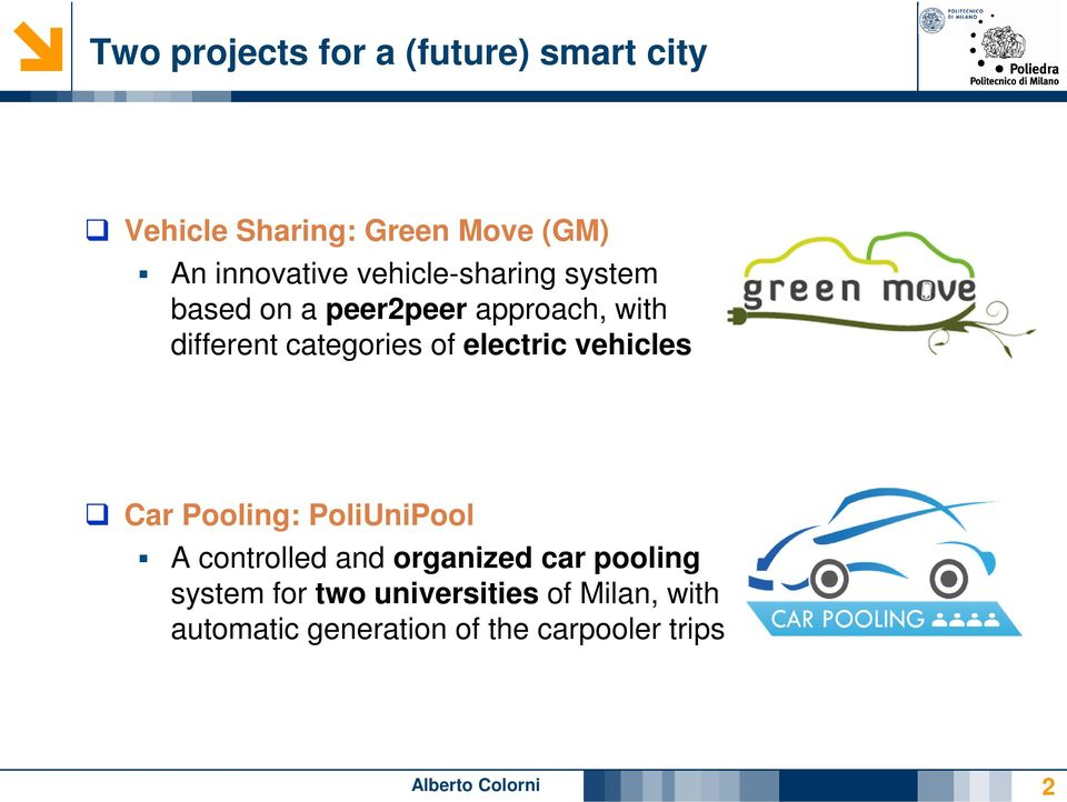 electric vehicles Car Pooling: PoliUniPool A controlled and organized car pooling system