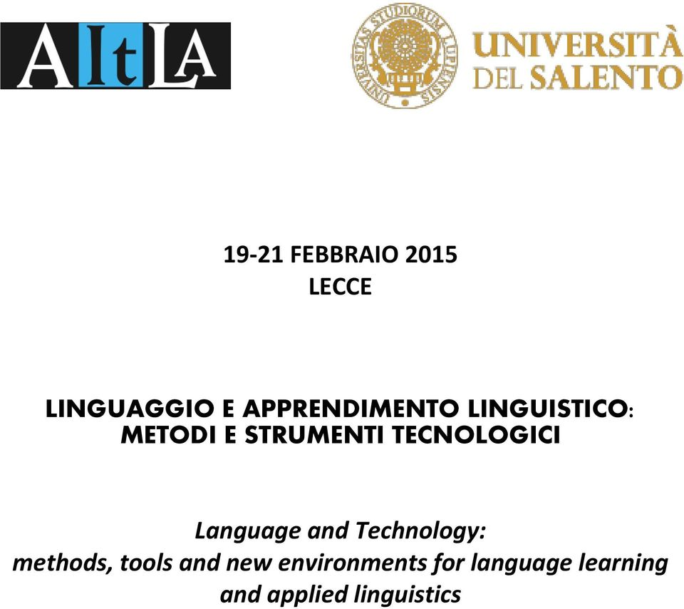 TECNOLOGICI Language and Technology: methods,