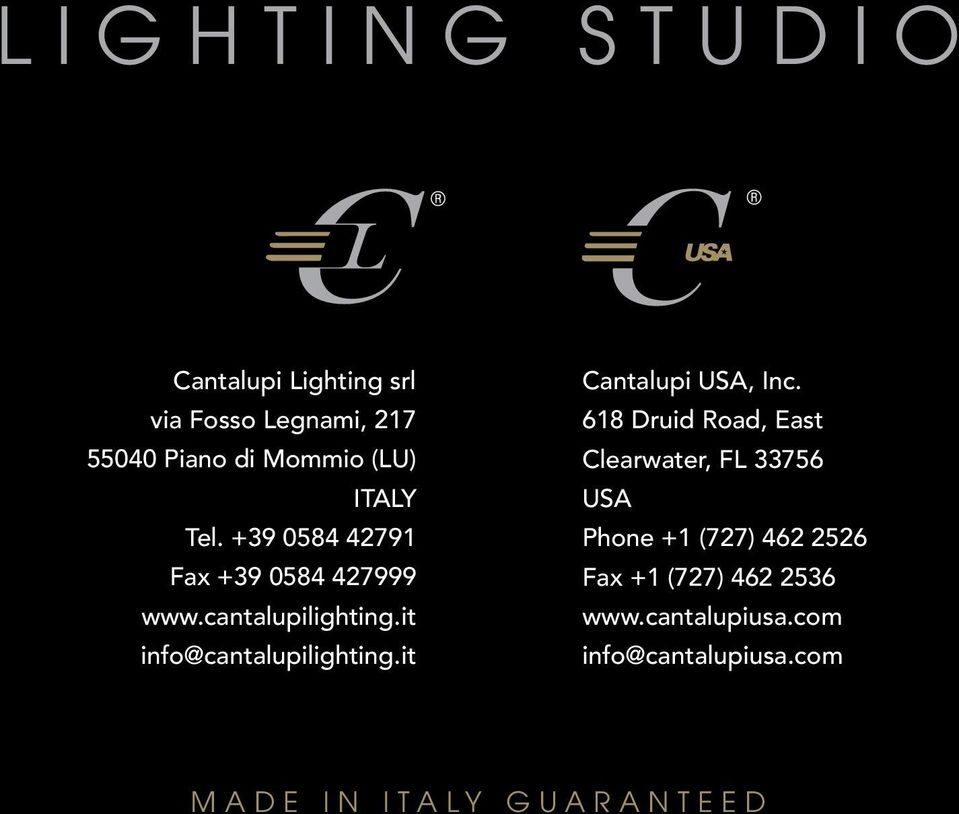 it info@cantalupilighting.it Cantalupi USA, Inc.