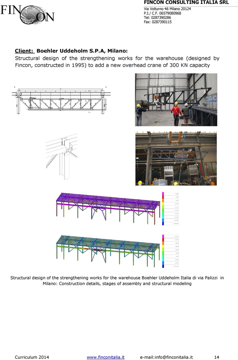 in 1995) to add a new overhead crane of 300 KN capacity Structural design of the strengthening works for the