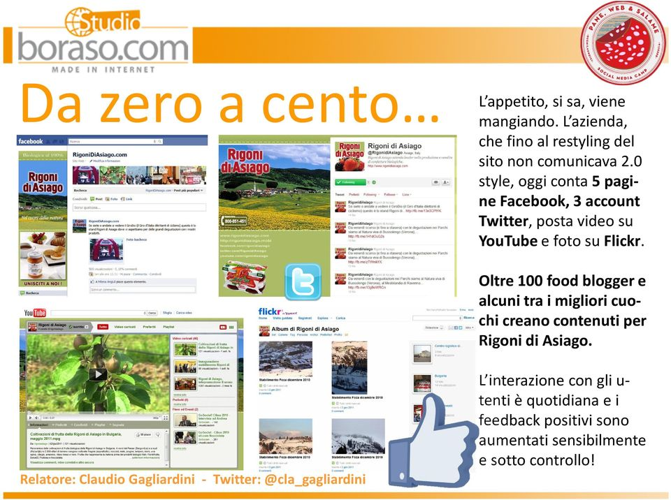 0 style, oggi conta 5 pagine Facebook, 3 account Twitter, posta video su YouTube e foto su Flickr.