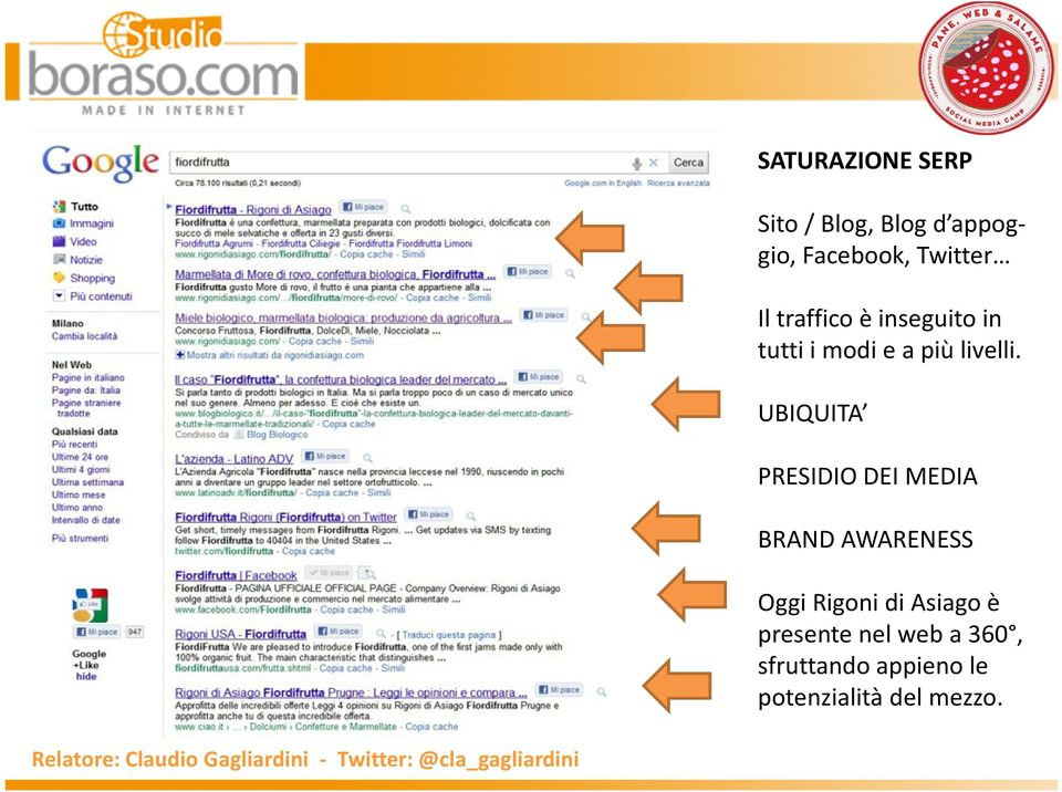 UBIQUITA PRESIDIO DEI MEDIA BRAND AWARENESS Oggi Rigoni di