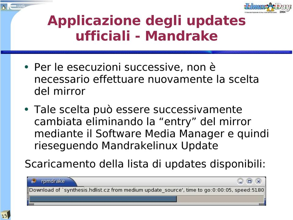successivamente cambiata eliminando la entry del mirror mediante il Software Media