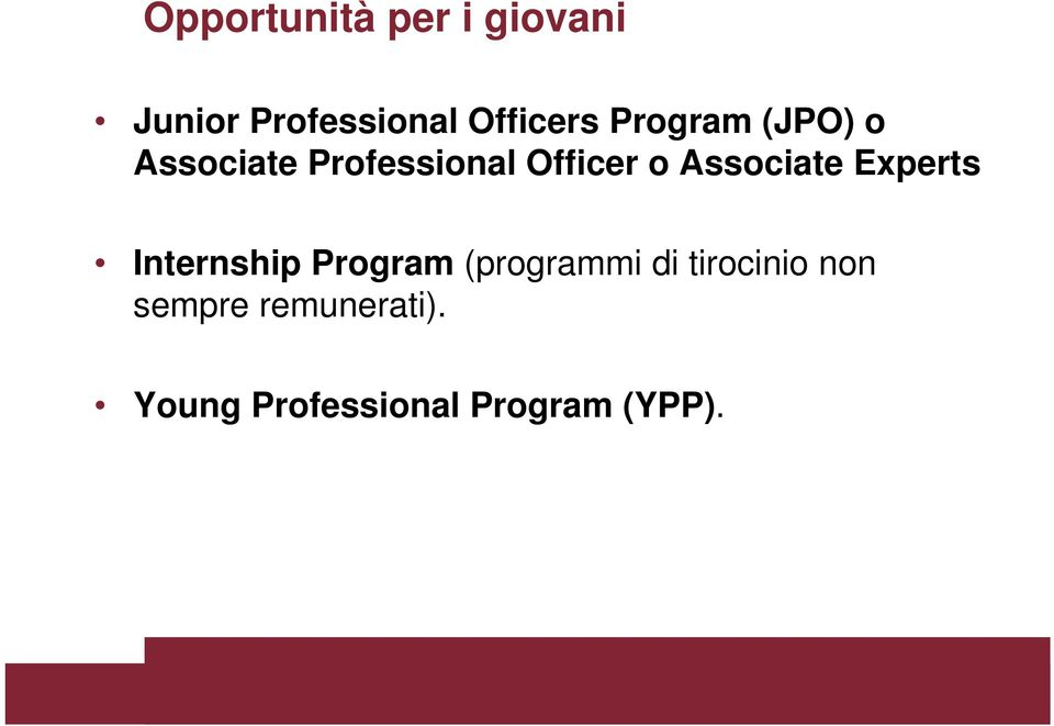 Associate Experts Internship Program (programmi di