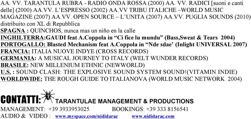 Coppola in Ci fice lu mundu (Bass,Sweat & Tears 2004) PORTOGALLO: Blasted Mechanism feat A.