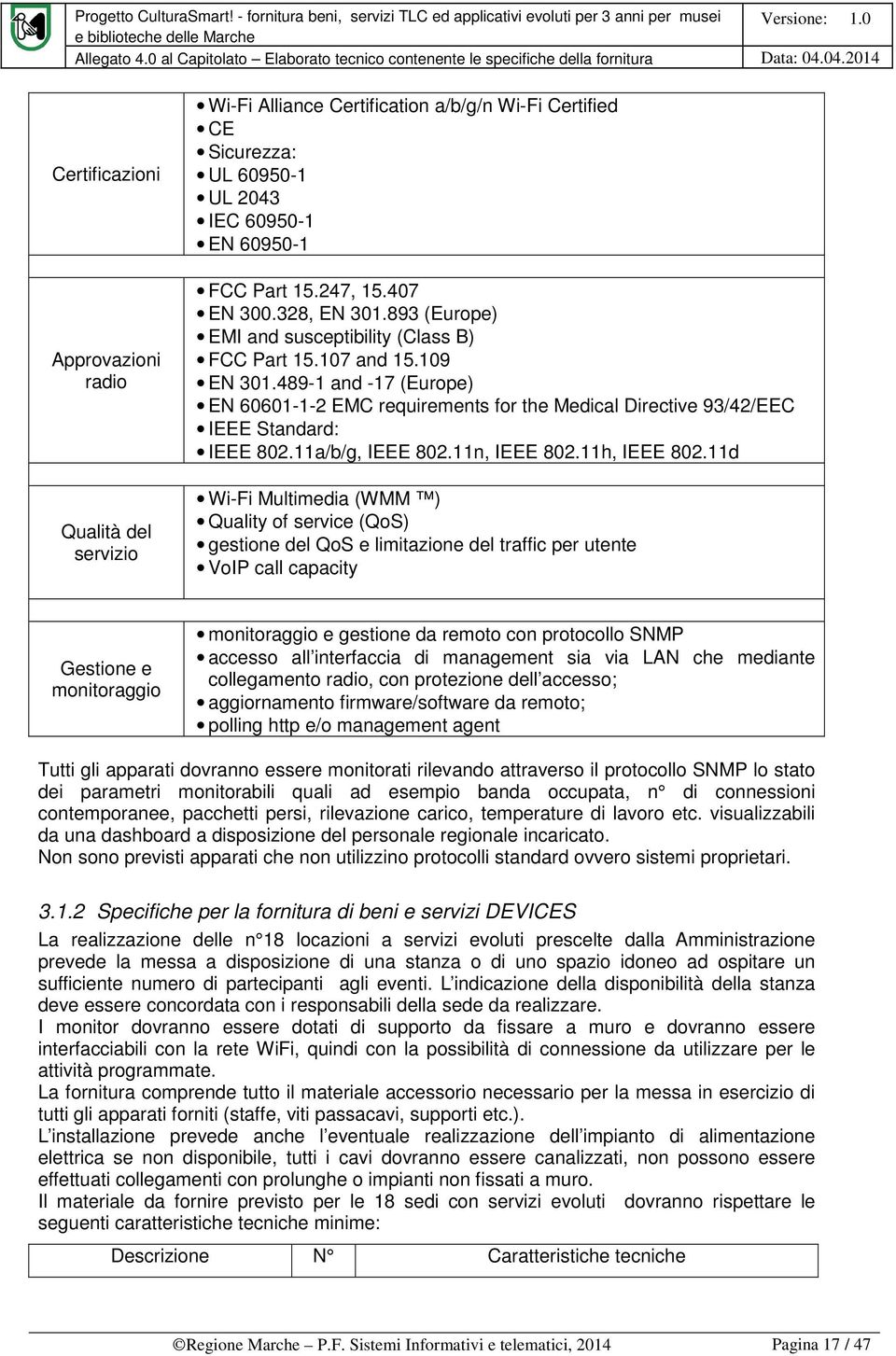 489-1 and -17 (Europe) EN 60601-1-2 EMC requirements for the Medical Directive 93/42/EEC IEEE Standard: IEEE 802.11a/b/g, IEEE 802.11n, IEEE 802.11h, IEEE 802.