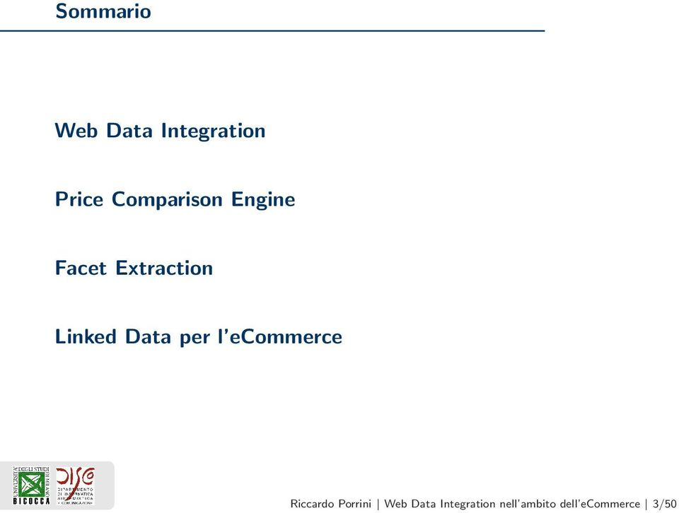 Data per l ecommerce Riccardo Porrini Web