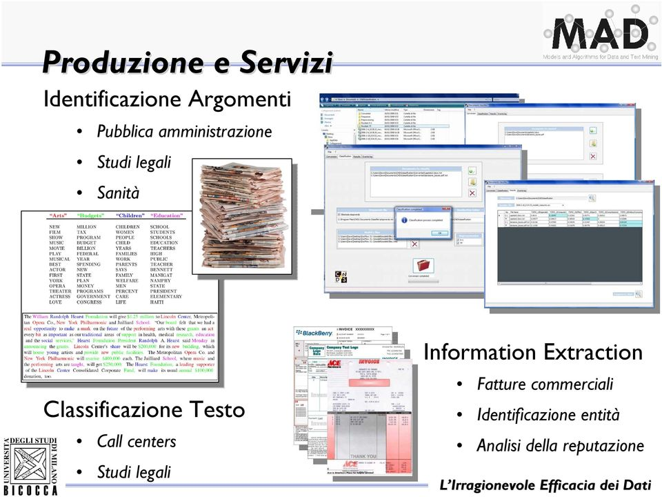 Call centers Studi legali Information Extraction Fatture