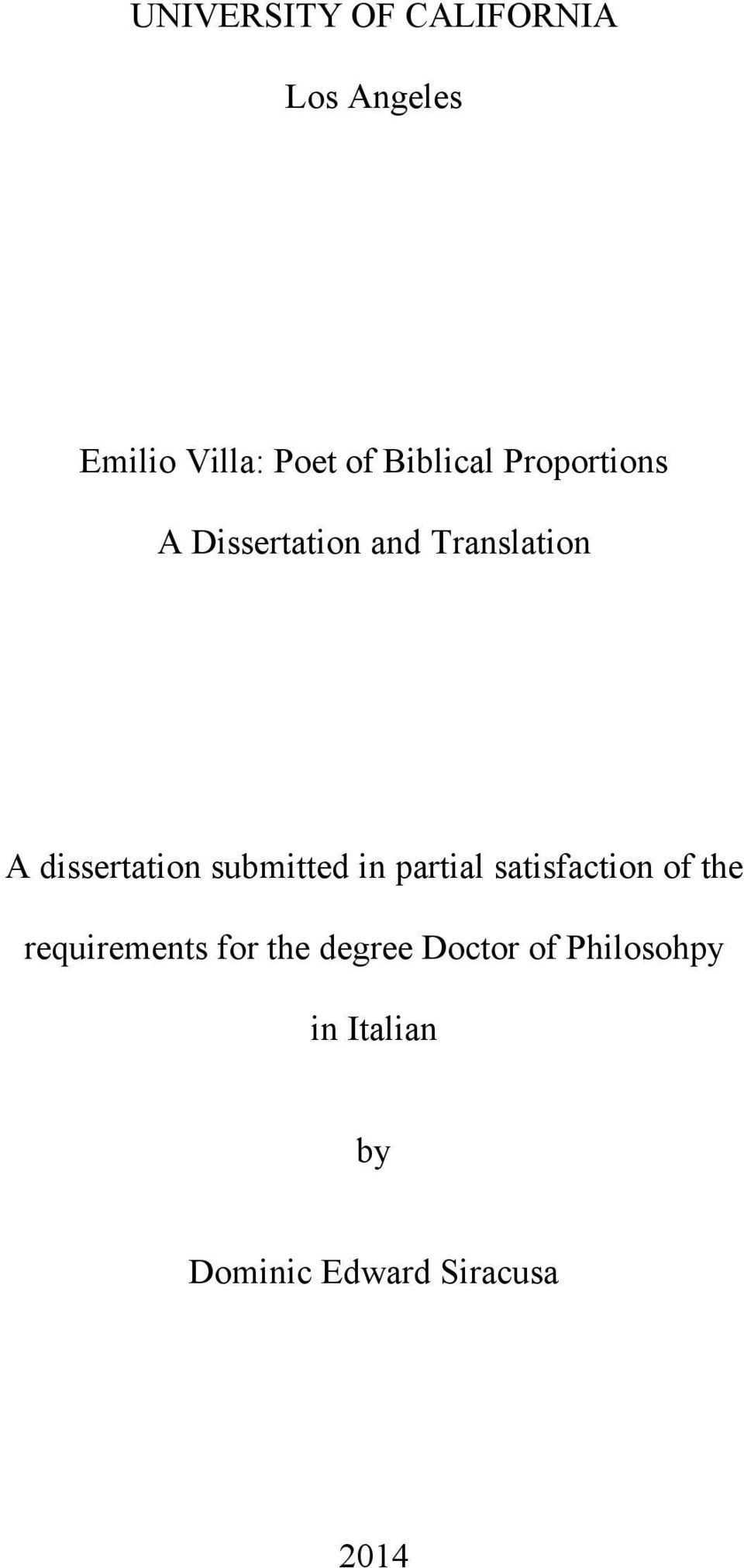 dissertation submitted in partial satisfaction of the
