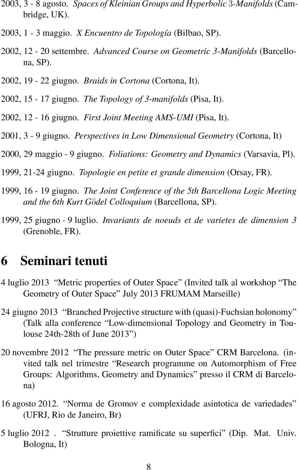 First Joint Meeting AMS-UMI (Pisa, It). 2001, 3-9 giugno. Perspectives in Low Dimensional Geometry (Cortona, It) 2000, 29 maggio - 9 giugno. Foliations: Geometry and Dynamics (Varsavia, Pl).