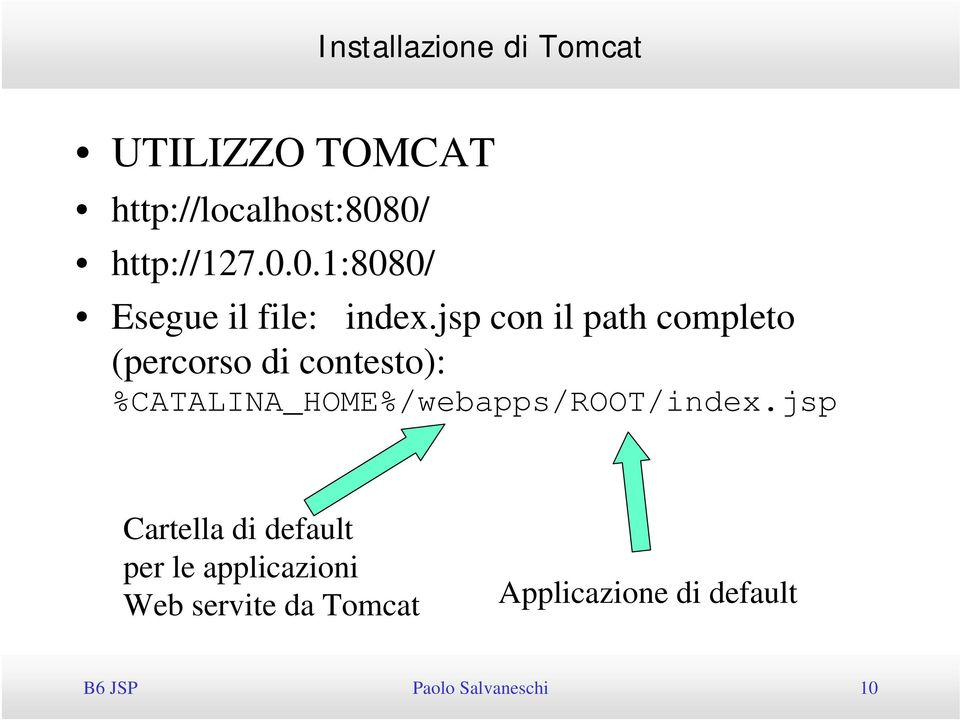 jsp con il path completo (percorso di contesto): %CATALINA_HOME%/webapps/ROOT/index.