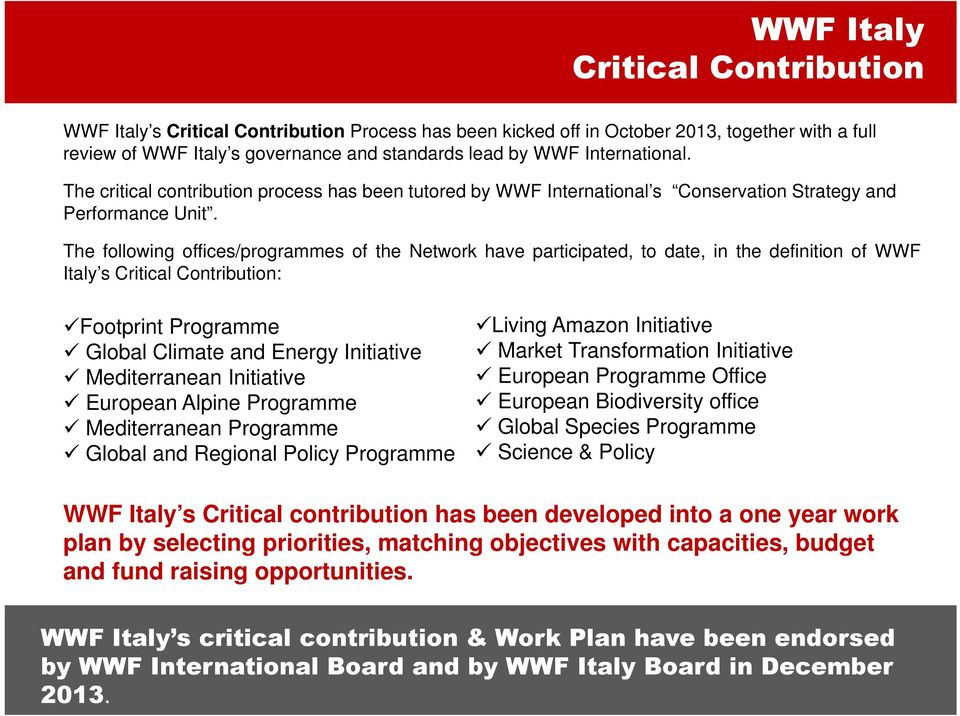 The following offices/programmes of the Network have participated, to date, in the definition of WWF Italy s Critical Contribution: Footprint Programme Global Climate and Energy Initiative