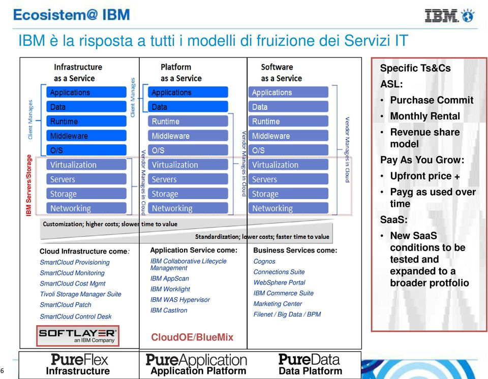 Desk Application Service come: IBM Collaborative Lifecycle Management IBM AppScan IBM Worklight IBM WAS Hypervisor IBM CastIron Business Services come: Cognos Connections Suite WebSphere