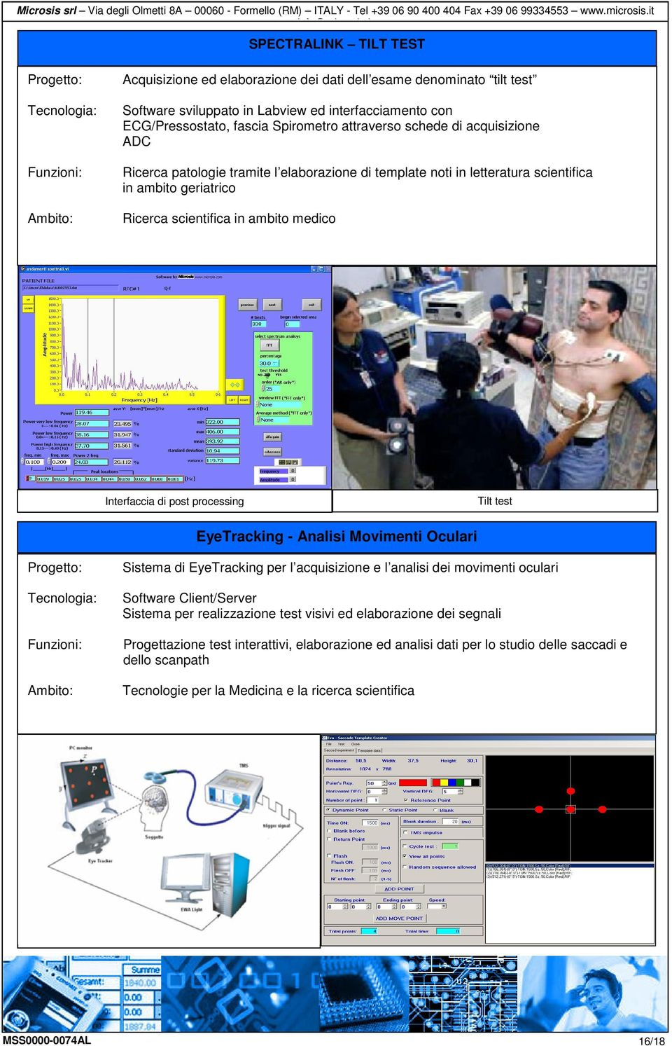 di post processing Tilt test EyeTracking - Analisi Movimenti Oculari : Sistema di EyeTracking per l acquisizione e l analisi dei movimenti oculari Software Client/Server Sistema per