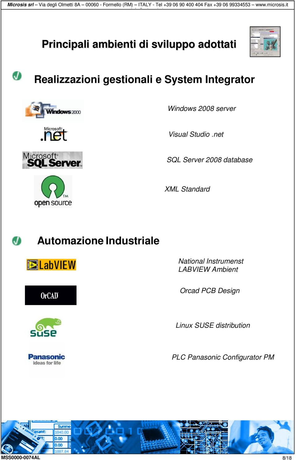 net SQL Server 2008 database XML Standard Automazione Industriale National