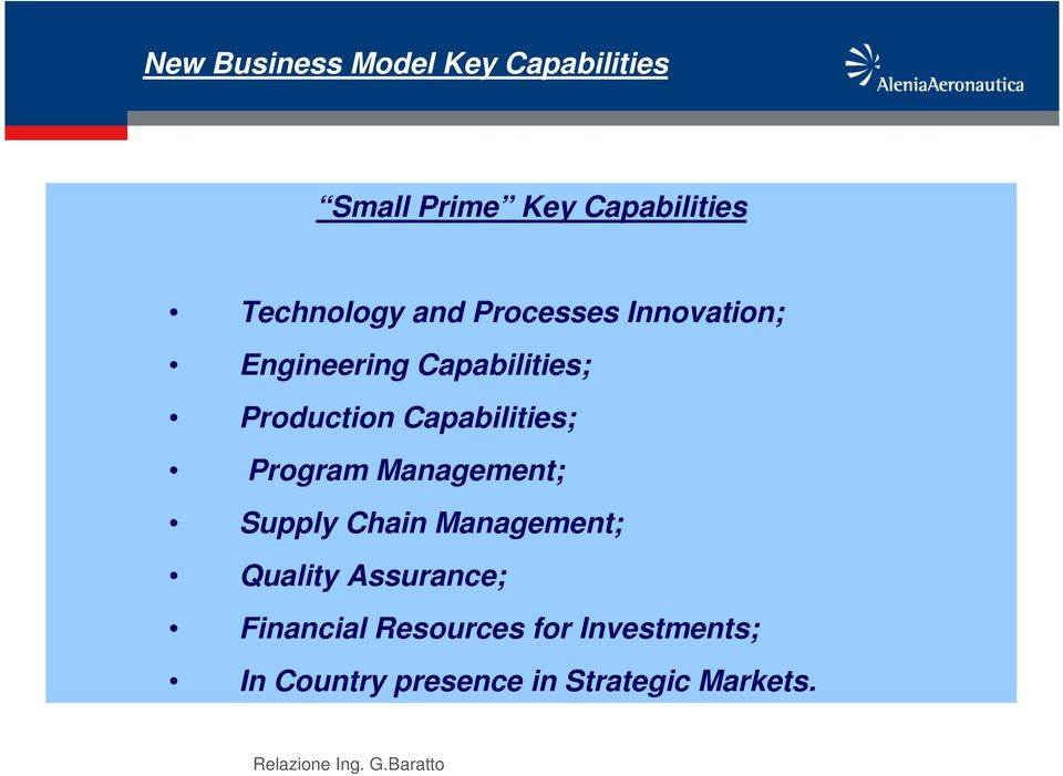 Capabilities; Program Management; Supply Chain Management; Quality