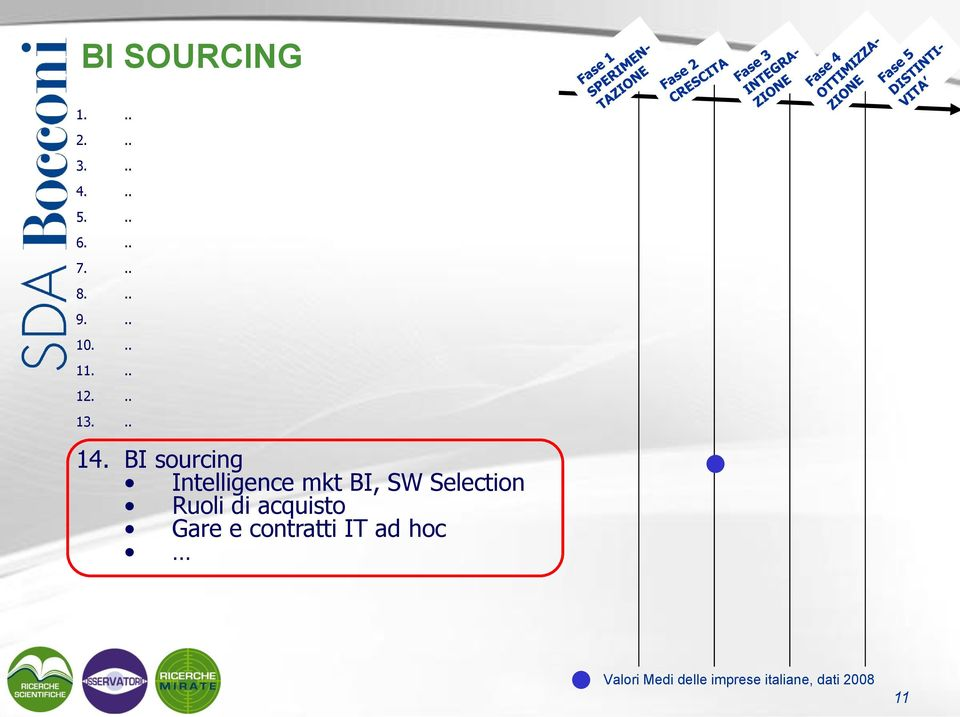 BI sourcing Intelligence mkt BI, SW Selection Ruoli di