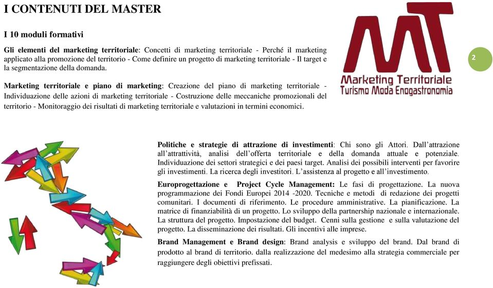 2 Marketing territoriale e piano di marketing: Creazione del piano di marketing territoriale - Individuazione delle azioni di marketing territoriale - Costruzione delle meccaniche promozionali del
