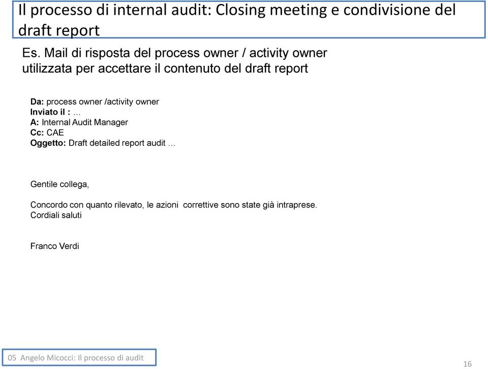 Da: process owner /activity owner Inviato il : A: Internal Audit Manager Cc: CAE Oggetto: Draft detailed