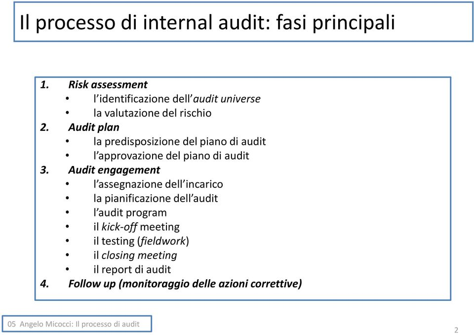 Audit plan la predisposizione del piano di audit l approvazione del piano di audit 3.