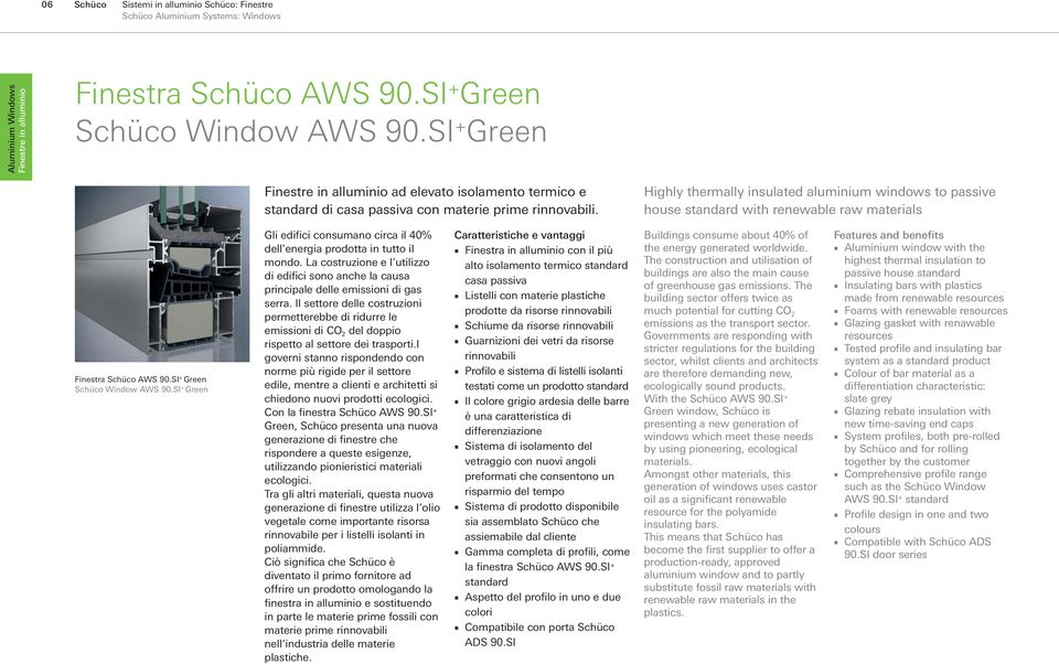 Highly thermally insulated aluminium windows to passive house standard with renewable raw materials Finestra Schüco AWS 90.SI + Green Schüco Window AWS 90.