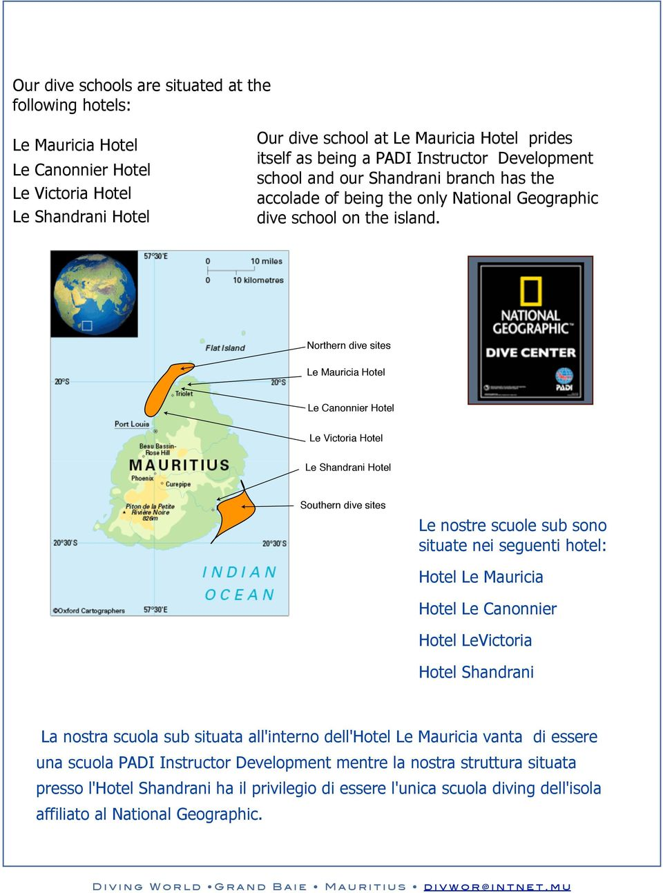 Northern dive sites Le Mauricia Hotel $.