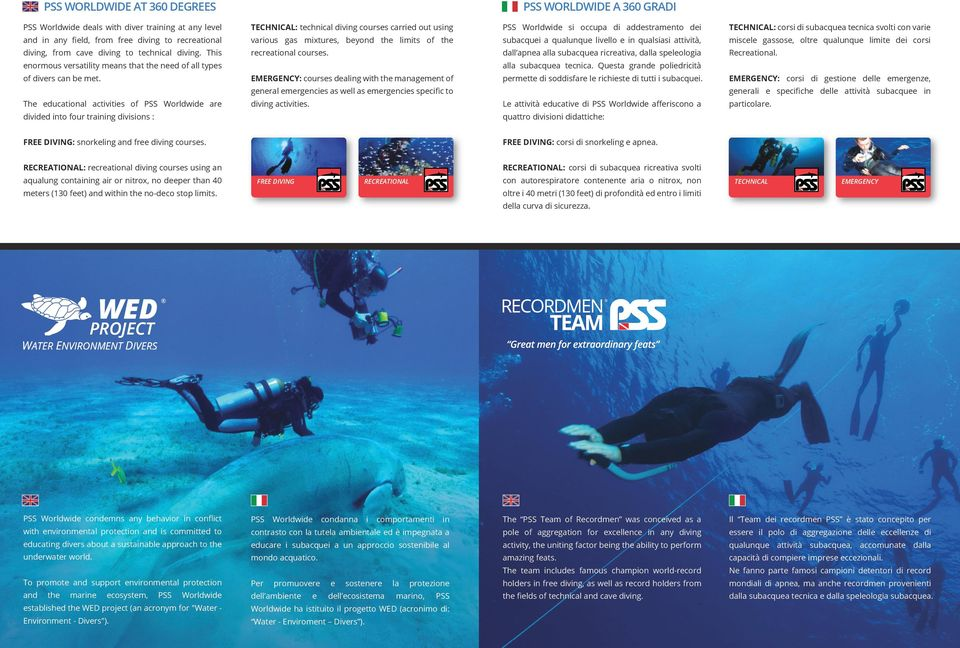 The educational activities of PSS Worldwide are divided into four training divisions : TECHNICAL: technical diving courses carried out using various gas mixtures, beyond the limits of the