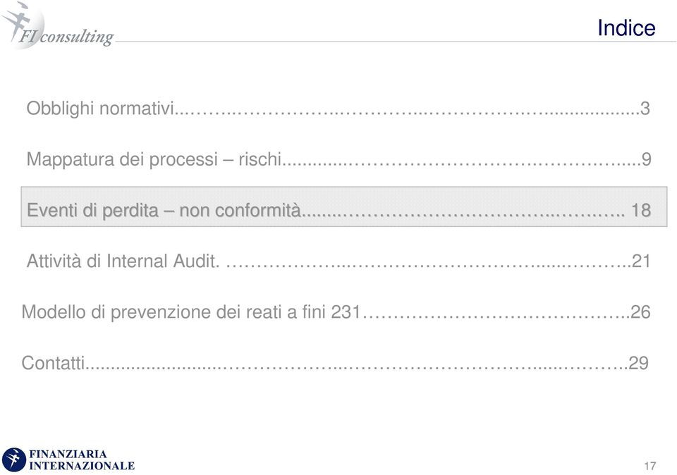 ........... 18 Attività di Internal Audit.