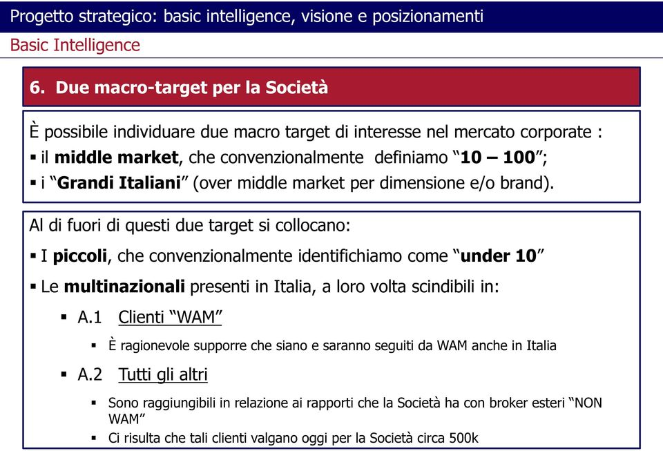(over middle market per dimensione e/o brand).
