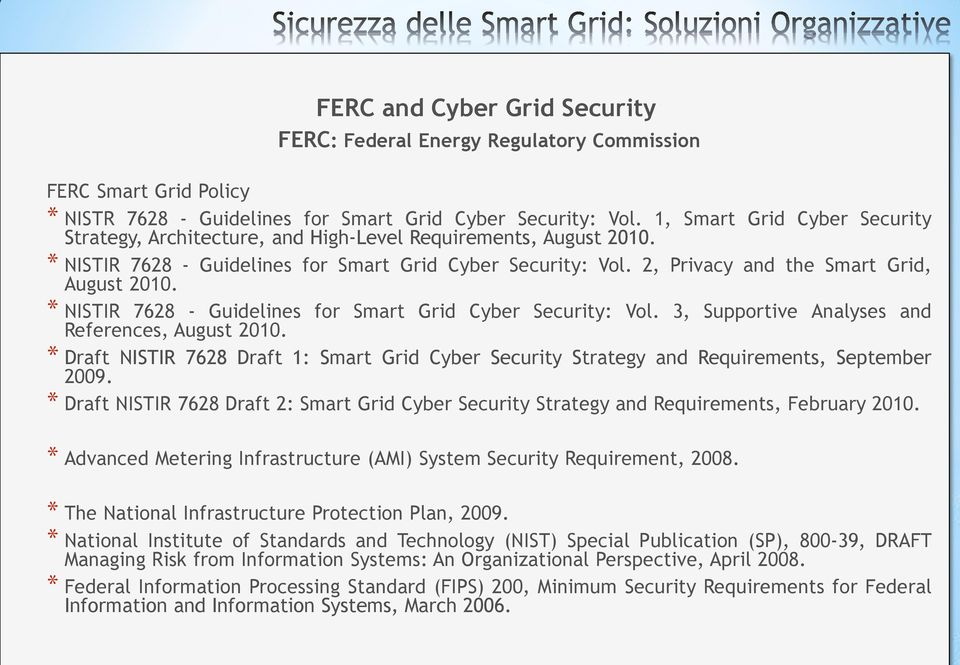 2, Privacy and the Smart Grid, August 2010. * NISTIR 7628 - Guidelines for Smart Grid Cyber Security: Vol. 3, Supportive Analyses and References, August 2010.