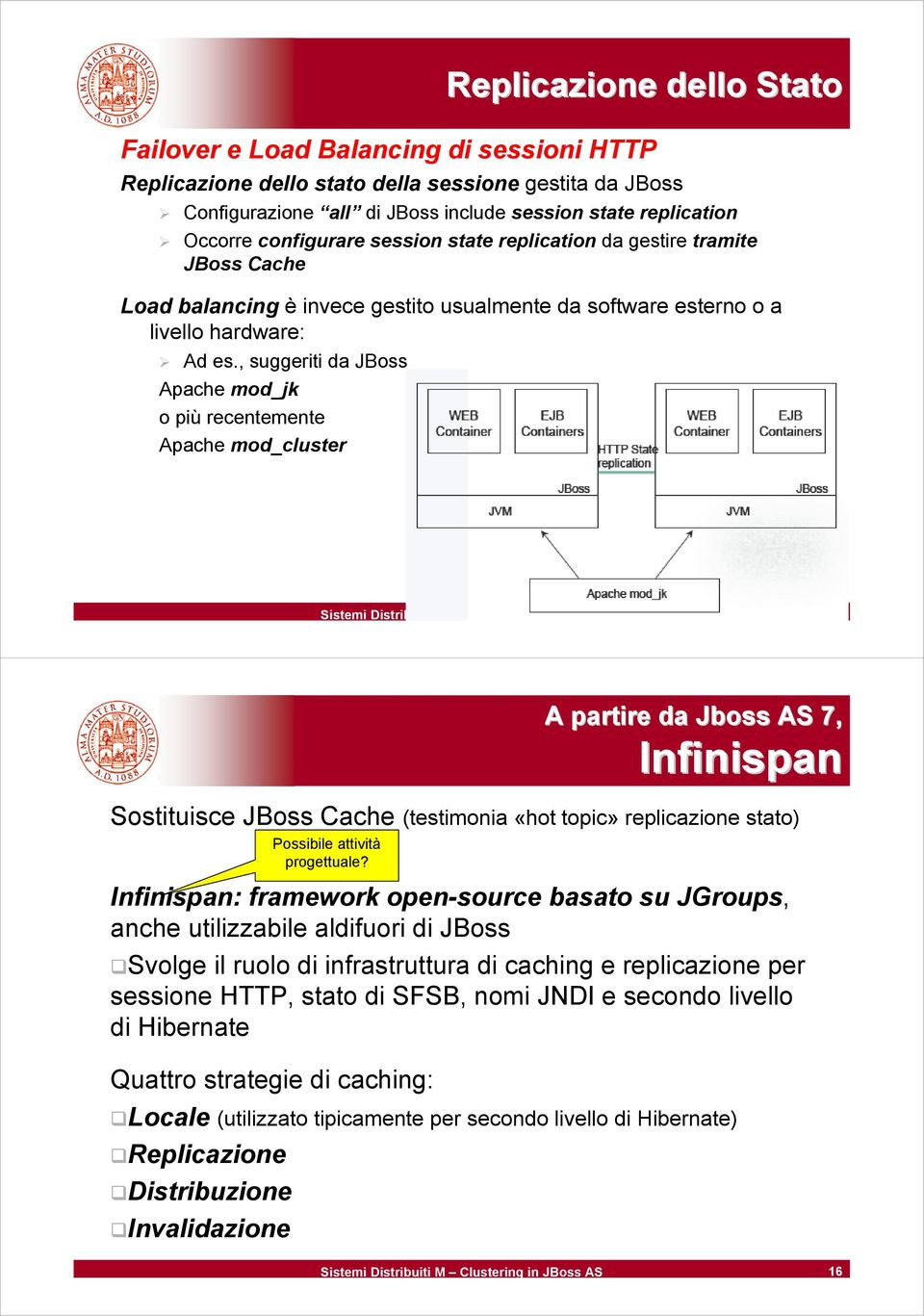 , suggeriti da JBoss Apache mod_jk o più recentemente Apache mod_cluster Sistemi Distribuiti M Clustering in JBoss AS 15 A partire da Jboss AS 7, Infinispan Sostituisce JBoss Cache (testimonia «hot