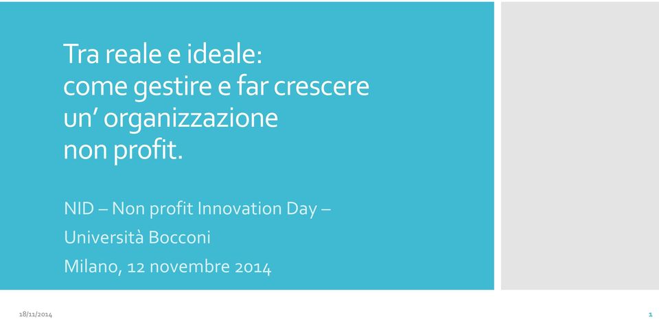 NID Non profit Innovation Day Università